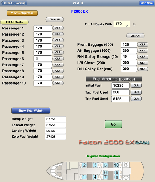 Falcon 2000EX - Weight and Balance App