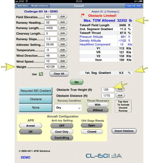 Challenger 601 takeoff performance calculator